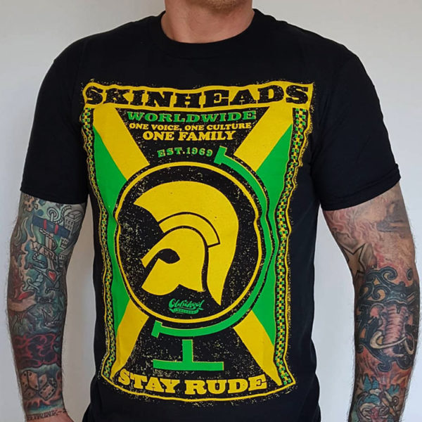 "Koszulka Oldschool Records ""Skinheads Worldwide"" z motywem Trojan Records i skinhead reggae."